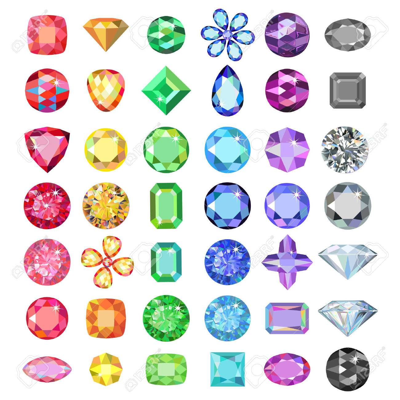 Popular low poly colored gems cuts set gradation by color of the rainbow isolated on white background, illustration - 53442665