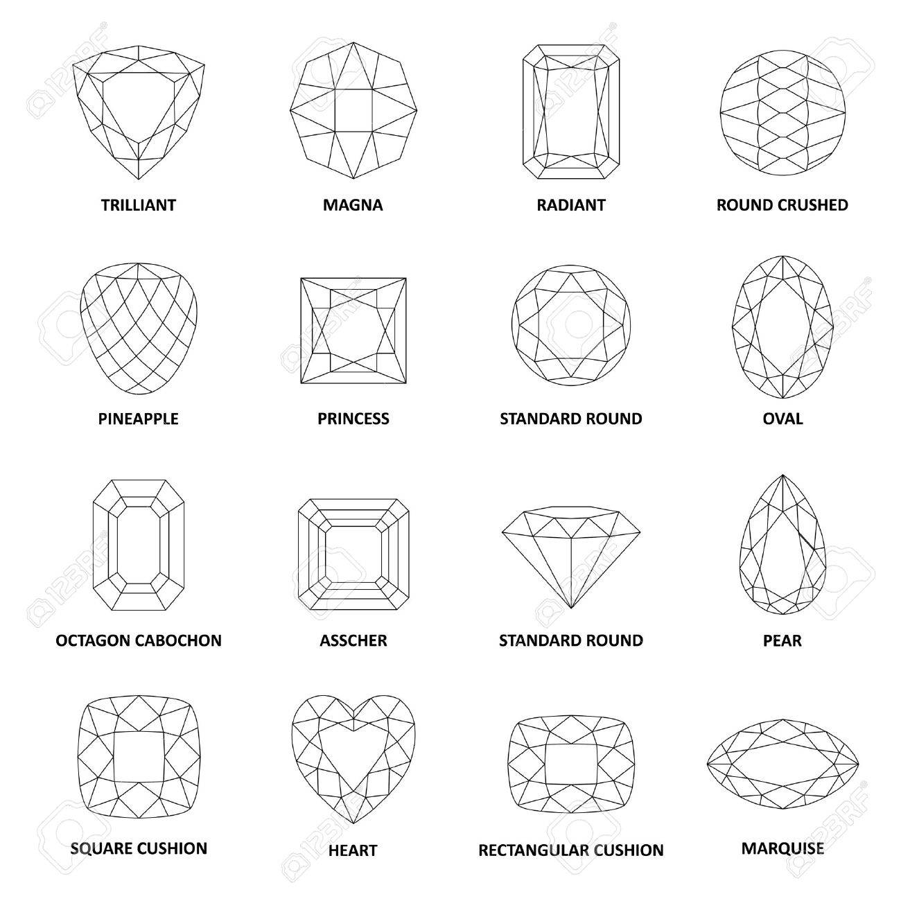 Low poly popular black outlined gems cuts isolated on white background, illustration - 53442688