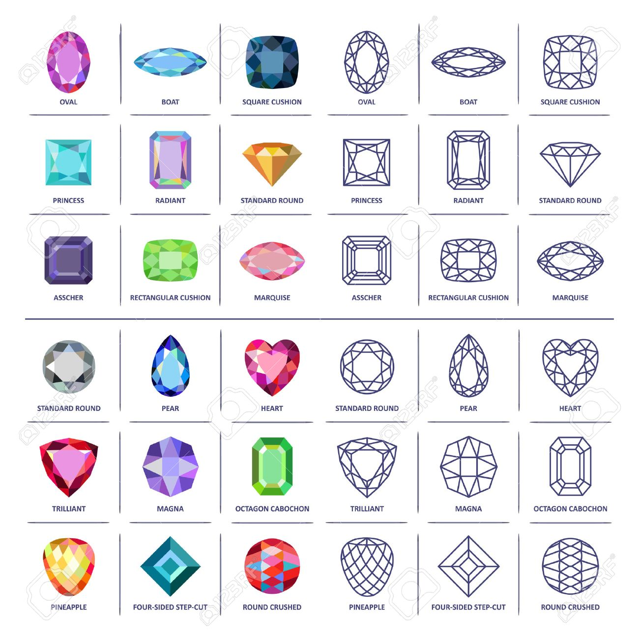 低ポリ人気色青写真概要宝石宝石カット イラスト白背景に分離した