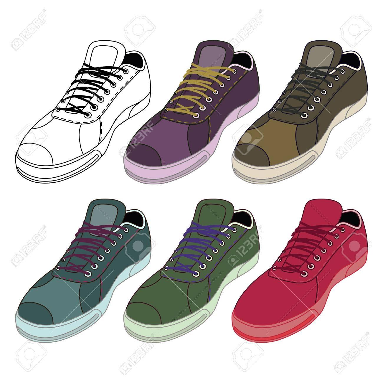 más fotos 2a62e b4dc4 Zapatillas de deporte negras y de color descritas zapatos establecidos  vista frontal, ilustración vectorial aislados en fondo blanco
