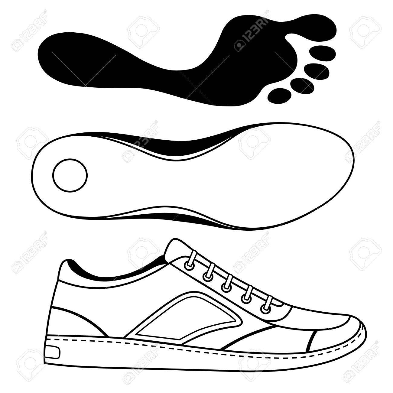 Negro Se Indica Zapatillas De Deporte Del Zapato Y Suela ...