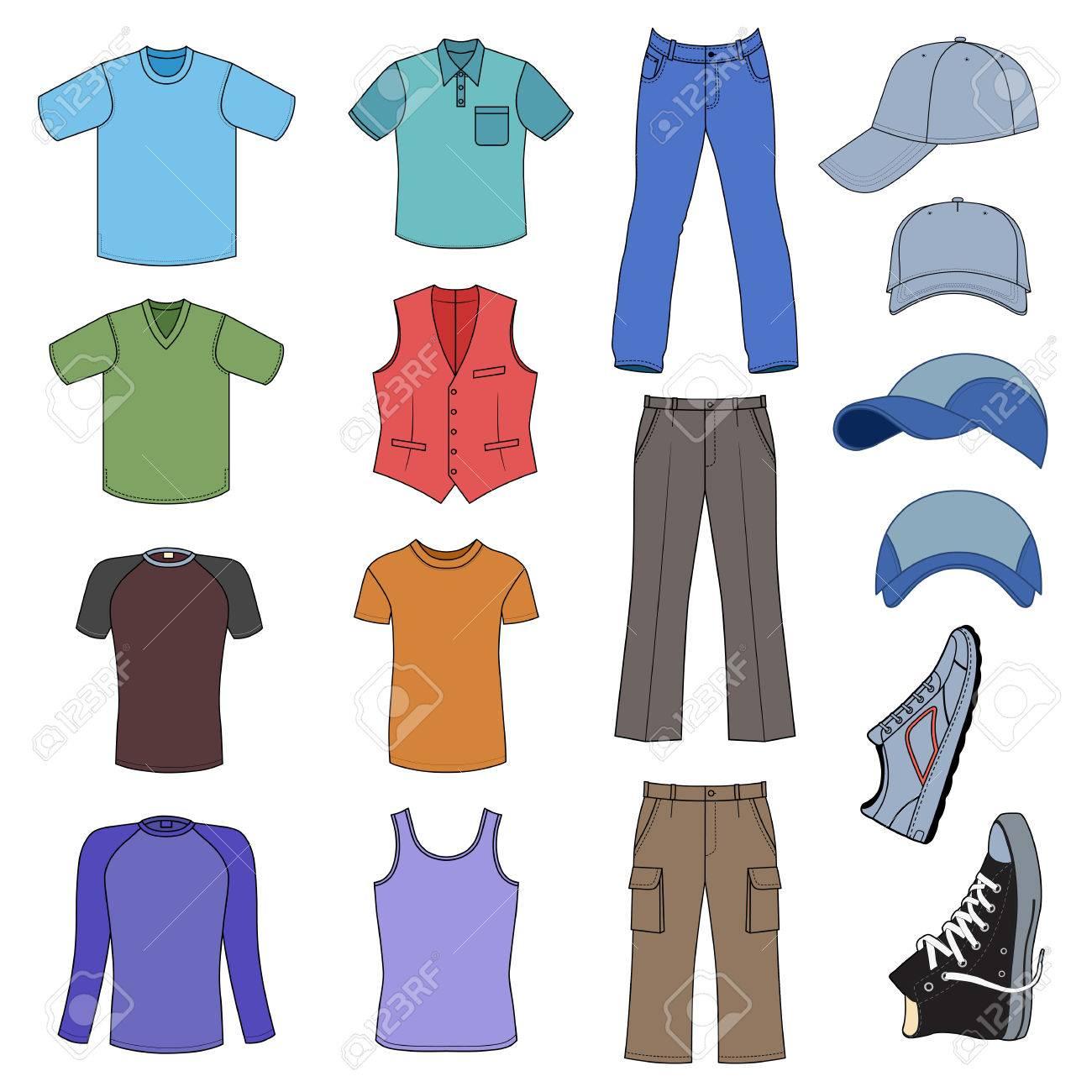 062114ab2 Ropa de caballero, tocados y zapatos de color colección de temporada,  ilustración vectorial aislados en fondo blanco