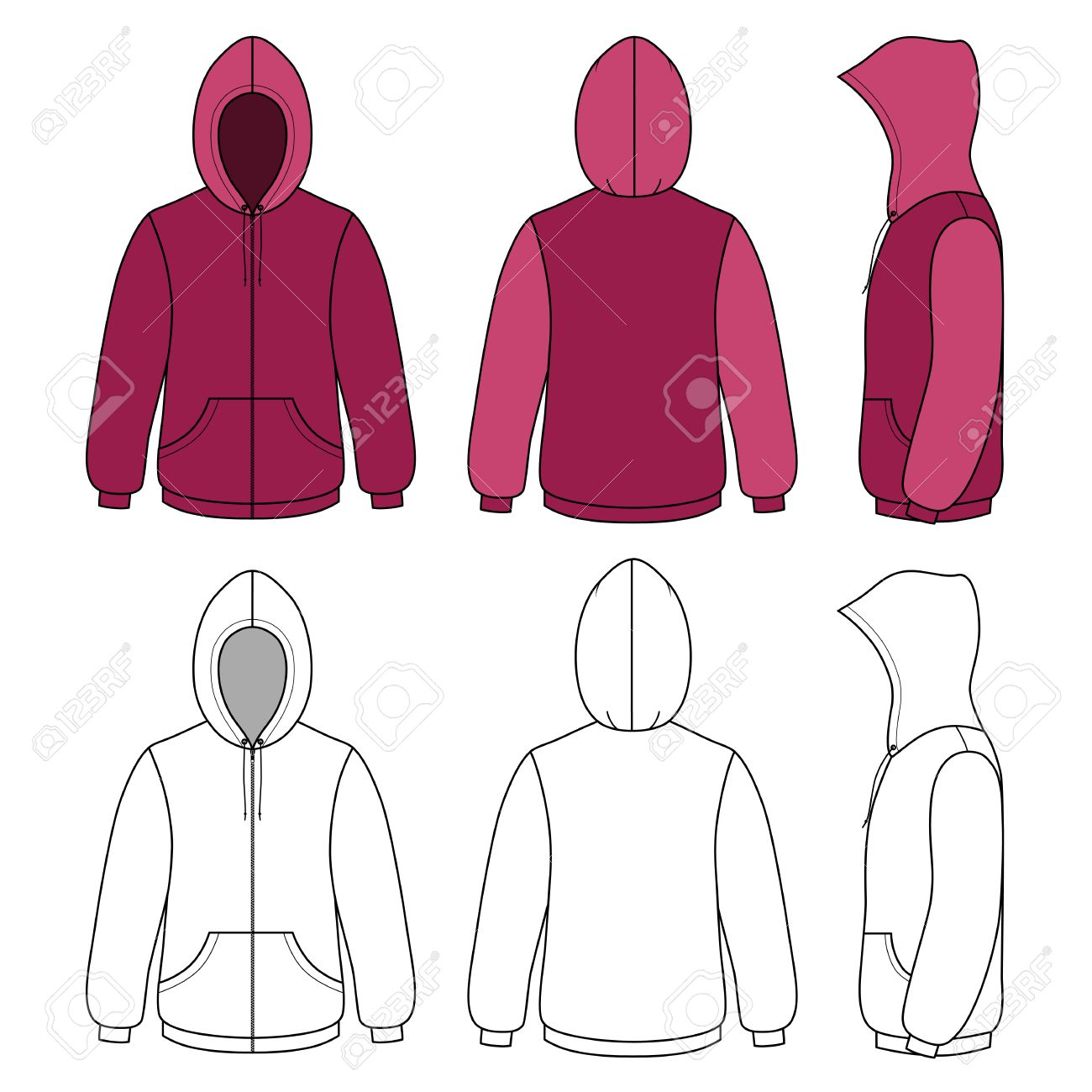 Hoodie Sweater Template (front, Side & Back Outlined View) Vector ...