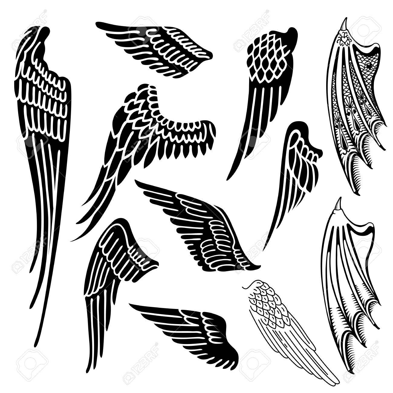 wings set linear silhouette isolated on white background vector rh 123rf com wind vector map wind vector map