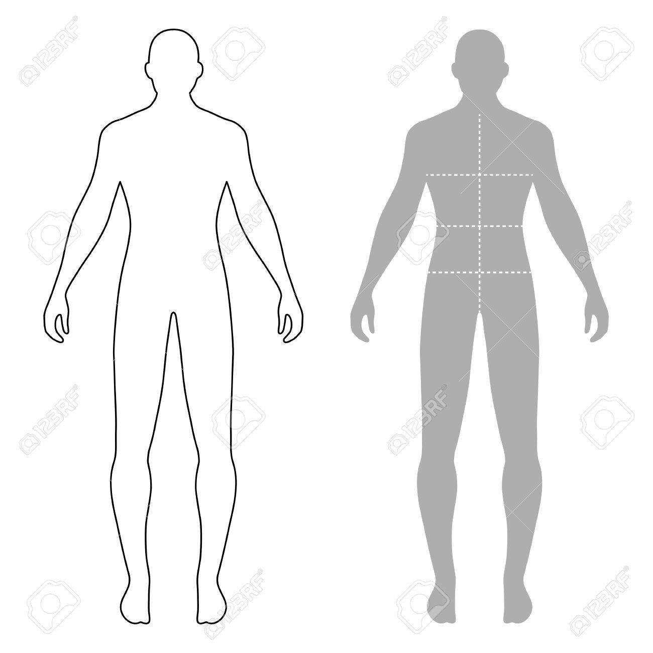 fashion man full length outlined template figure silhouette with