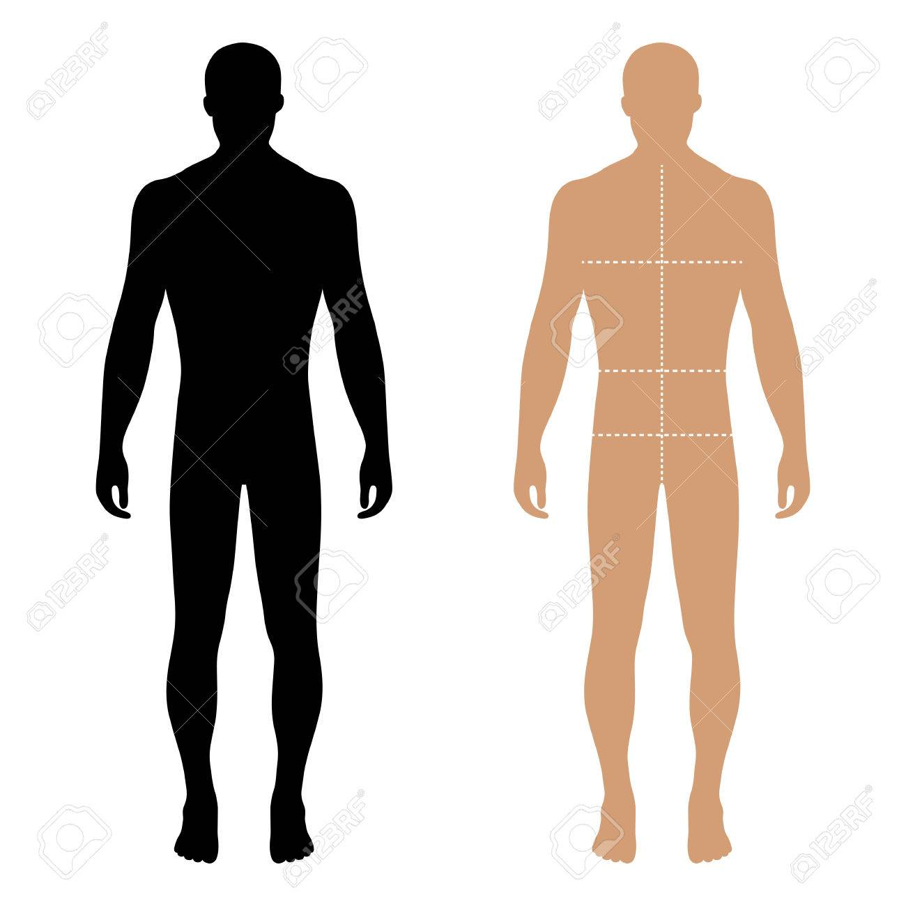 Fashion man full length solid template figure silhouette with marked body's sizes lines (front view), vector illustration isolated on white background - 61969842