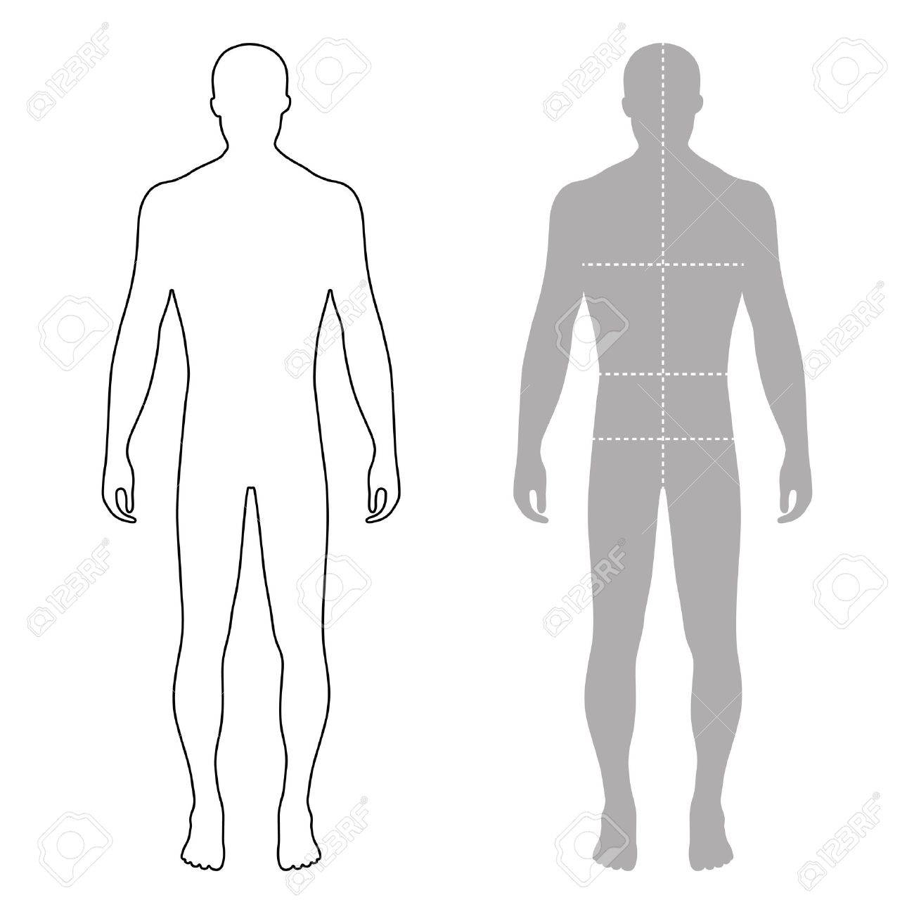 Fashion man full length outlined template figure silhouette with marked body's sizes lines (front view), vector illustration isolated on white background - 61969999