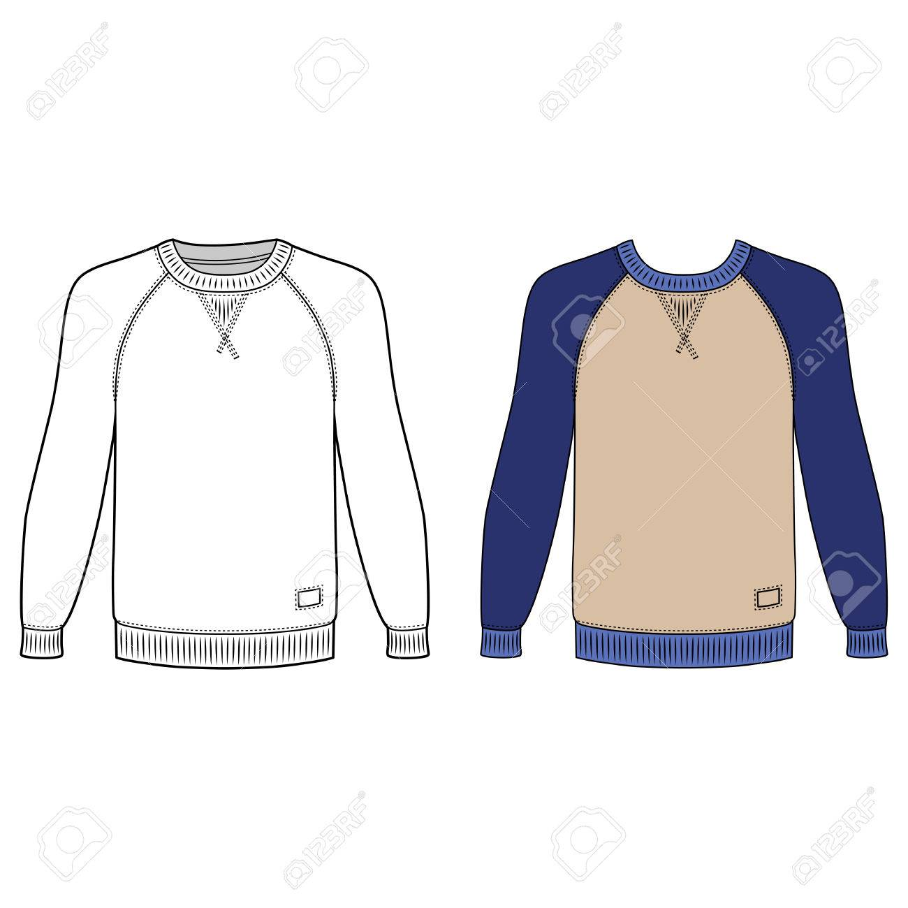 23a6249dbe0d Raglan Long Sleeve T-shirt Outlined Template (front View)
