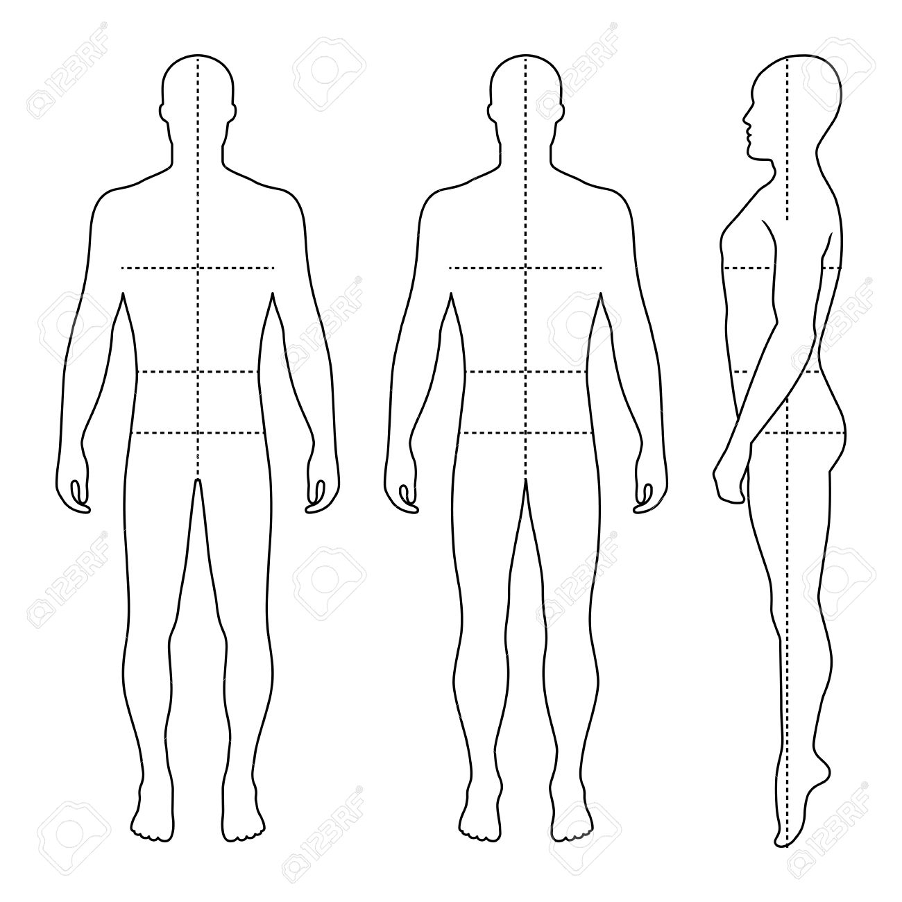 Fashion Bald Man Full Length Outlined Template Figure Silhouette With Marked Bodys Sizes Lines Front