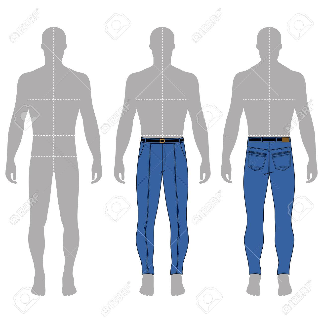 full length man s grey silhouette figure in skinny jeans template
