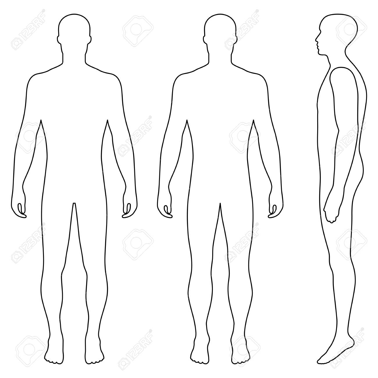 Fashion body full length bald template figure silhouette (front, back and side view), vector illustration isolated on white background - 82094758