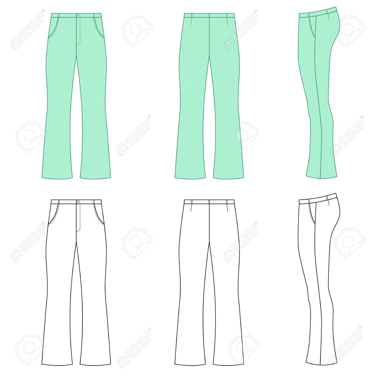 9572ca106 ... Hombre contorneó los pantalones flare flacos de la plantilla (vista  delantera, lateral y posterior), ilustración del vector aislada en el fondo  blanco