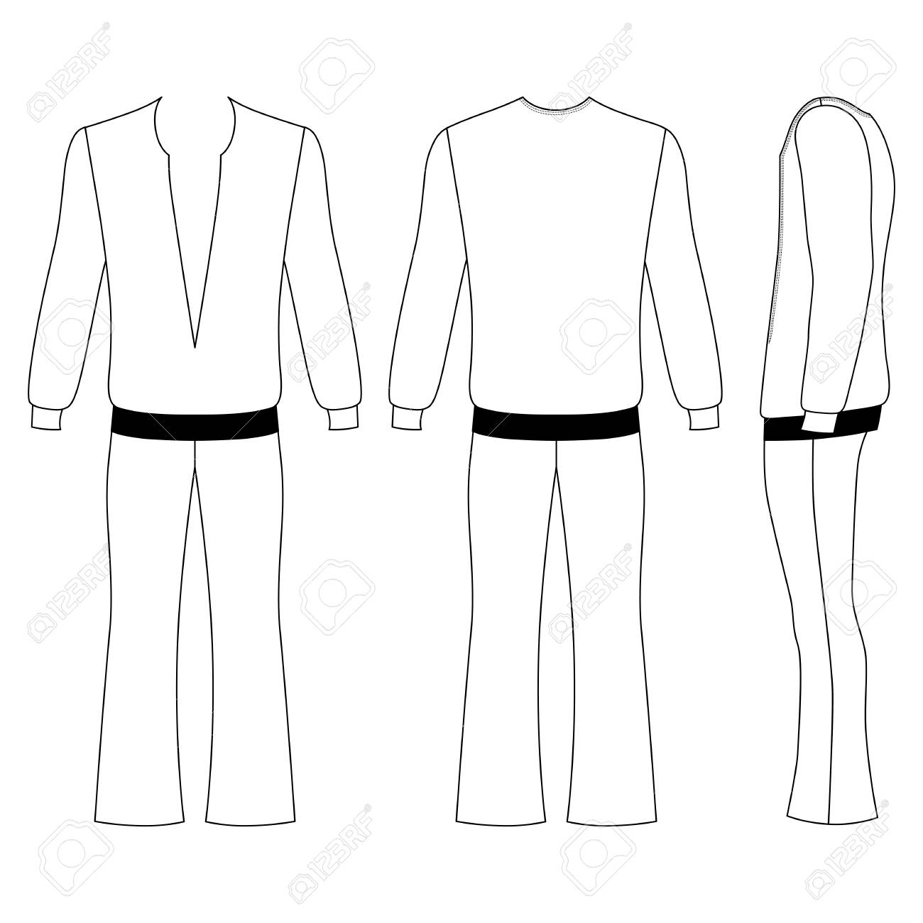man s flare pants and long sleeve t shirt outlined costume template front