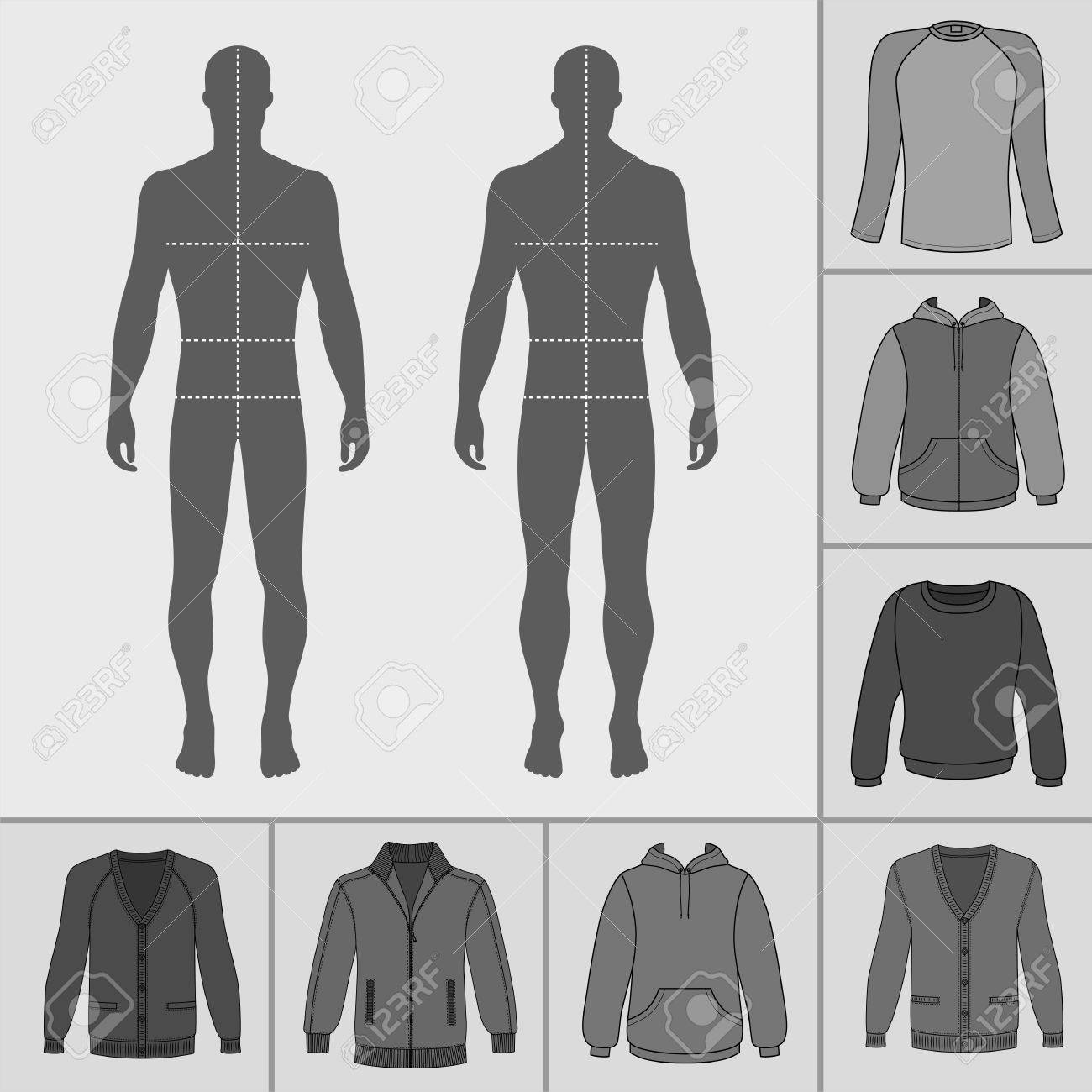 Men\'s Clothing Outlined Template Set (pullover, Hoodie, Zipped ...