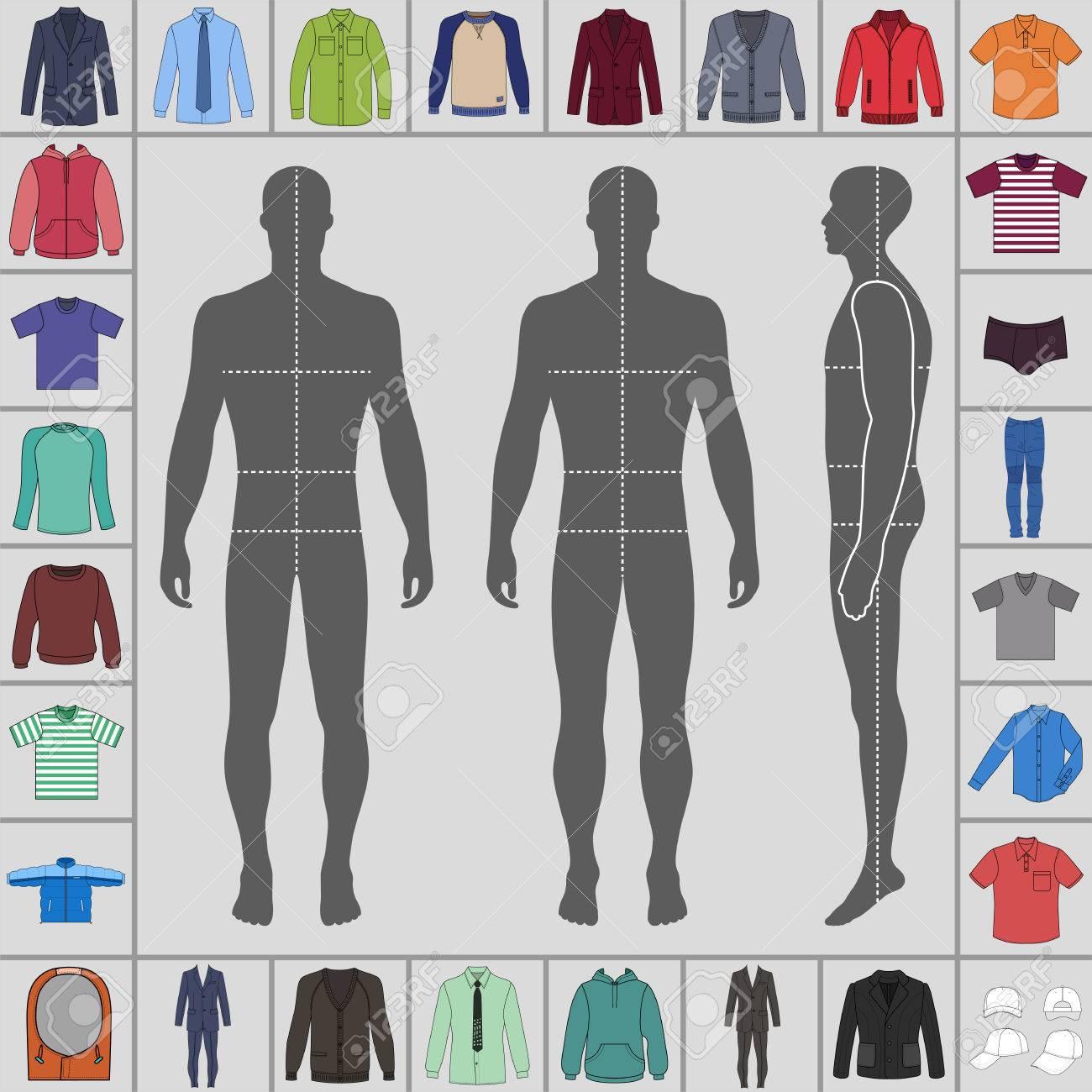 Vêtements décrits grand modèle ensemble pour hommes (costume simple boutonnage, chemise, pull, sweat à capuche, veste matelassée etc.) et homme