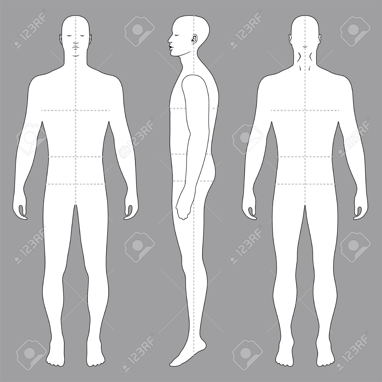 Fashion Body Full Length Bald Template Figure Silhouette Front ...
