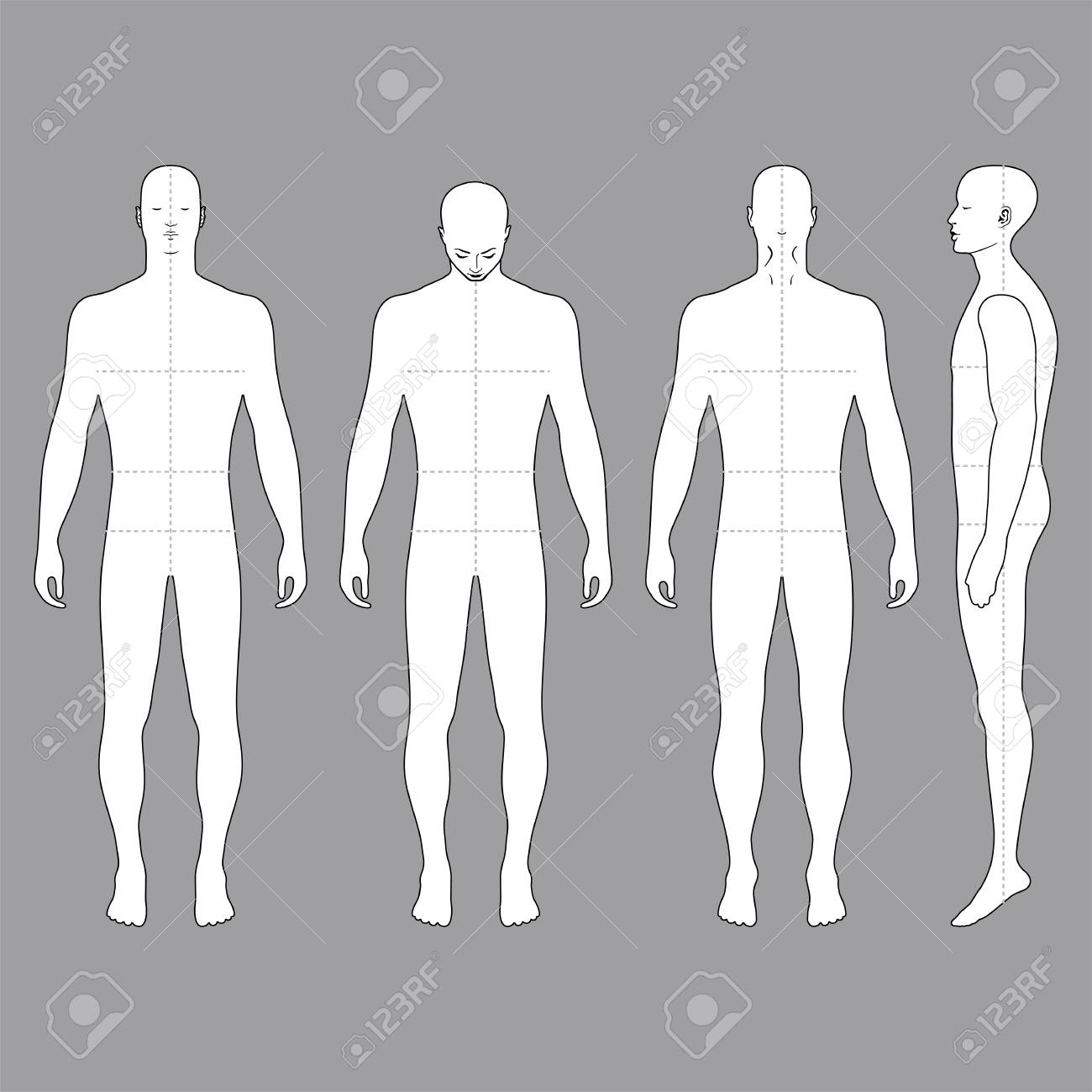 Fashion Body Full Length Bald Template Figure Silhouette (front ...