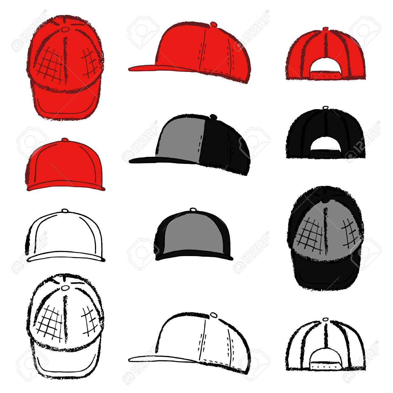 95b18622 Baseball, tennis, rap cap outlined oil pastel template sketch (front, back  and