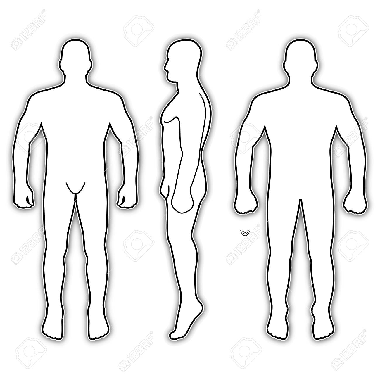 Fashion Man Body Full Length Bald Template Figure Silhouette Front Back And Side Views