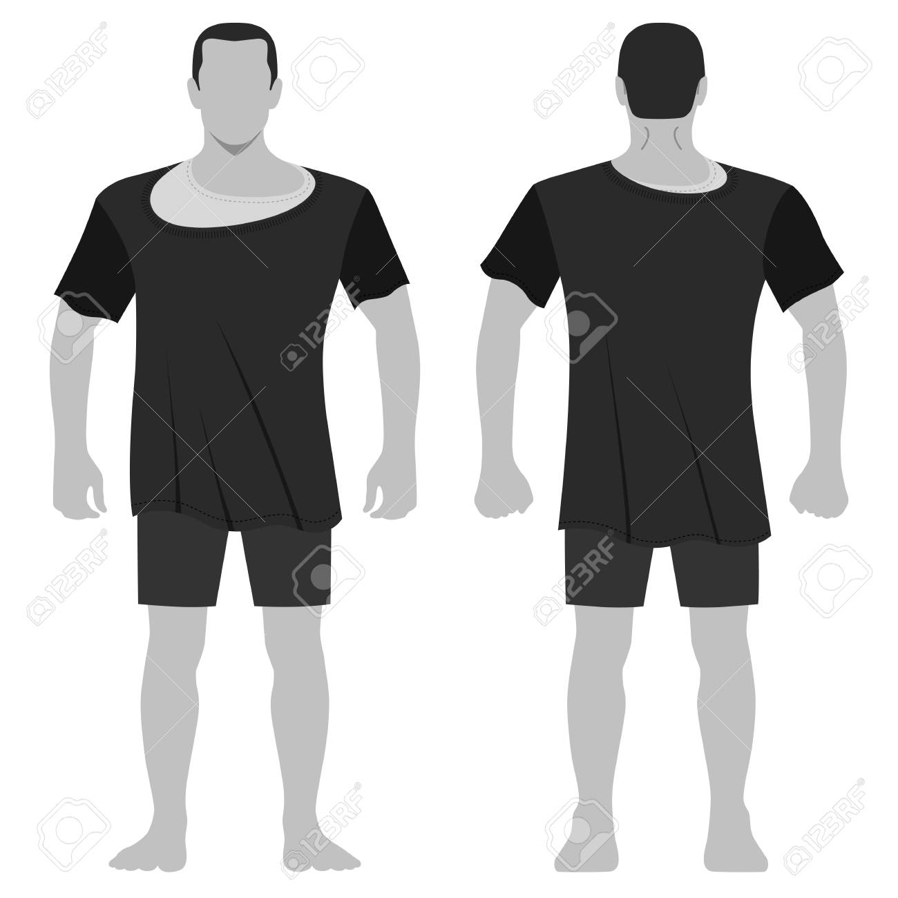 Fashion Man Body Full Length Template Figure Silhouette In Shorts And T Shirt Front