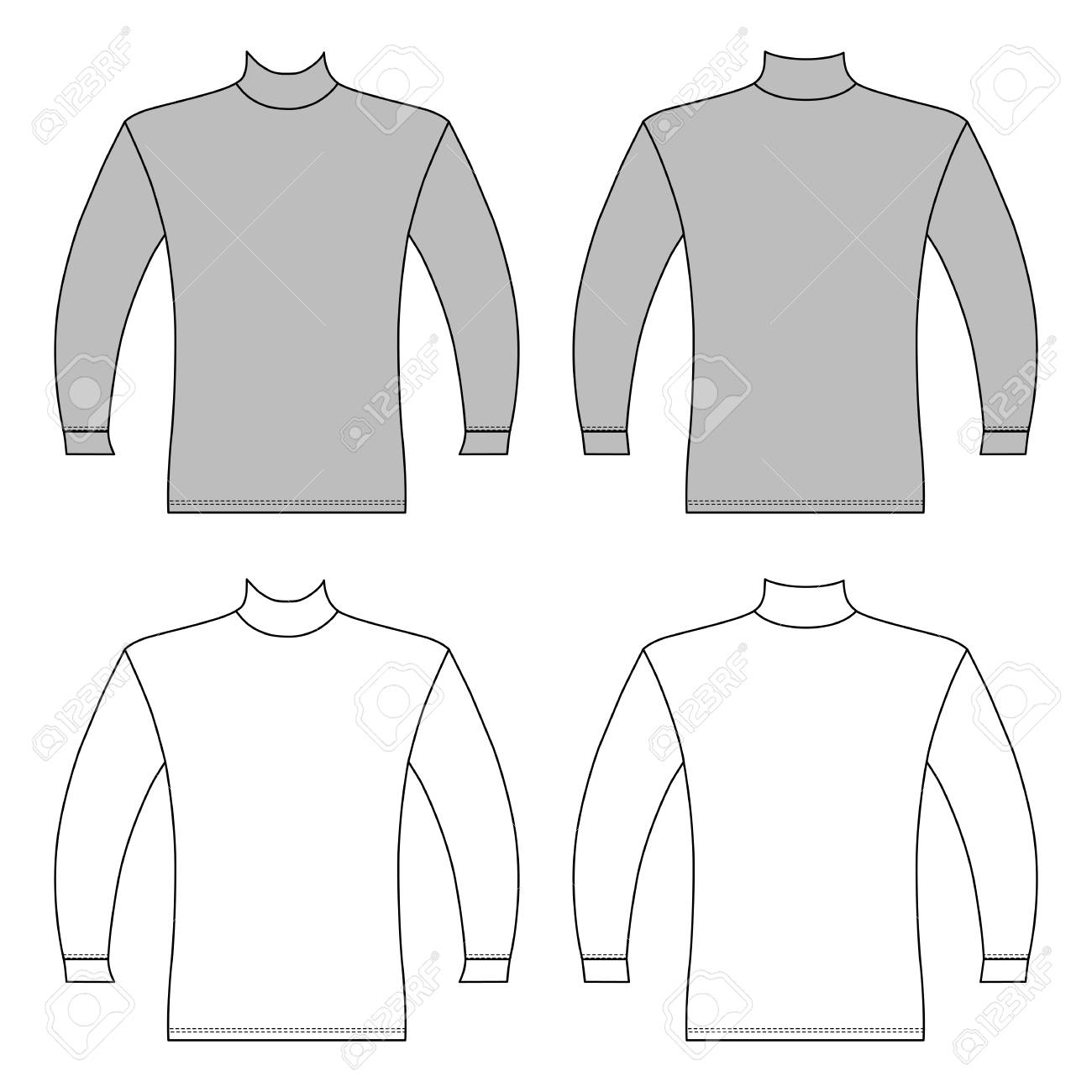 61c7d3e37017 Long Sleeve T-shirt Outlined Template (front   Back View)