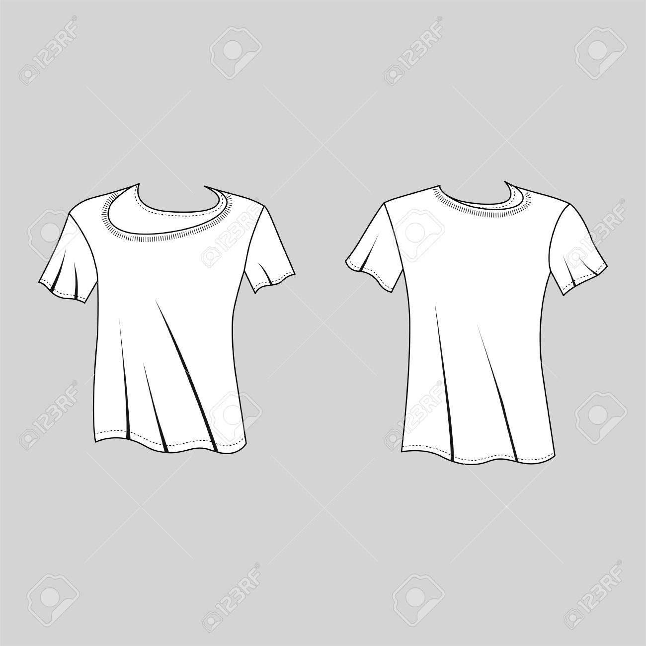 T Shirt Man Template Front Back Views Vector Illustration