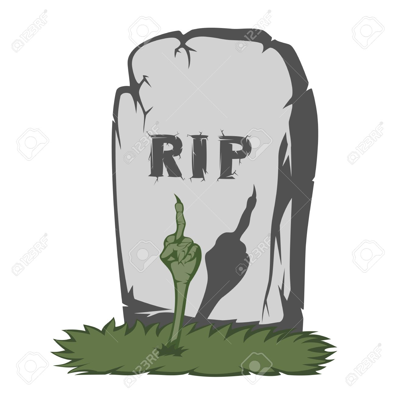 Fabulous The Gray Gravestone With RIP And Grass Scary Text And Fingers  SM92