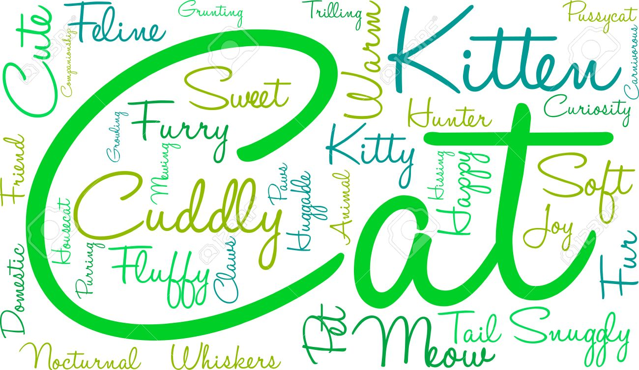 Cat Word Cloud On A White Background Royalty Free Cliparts Vectors