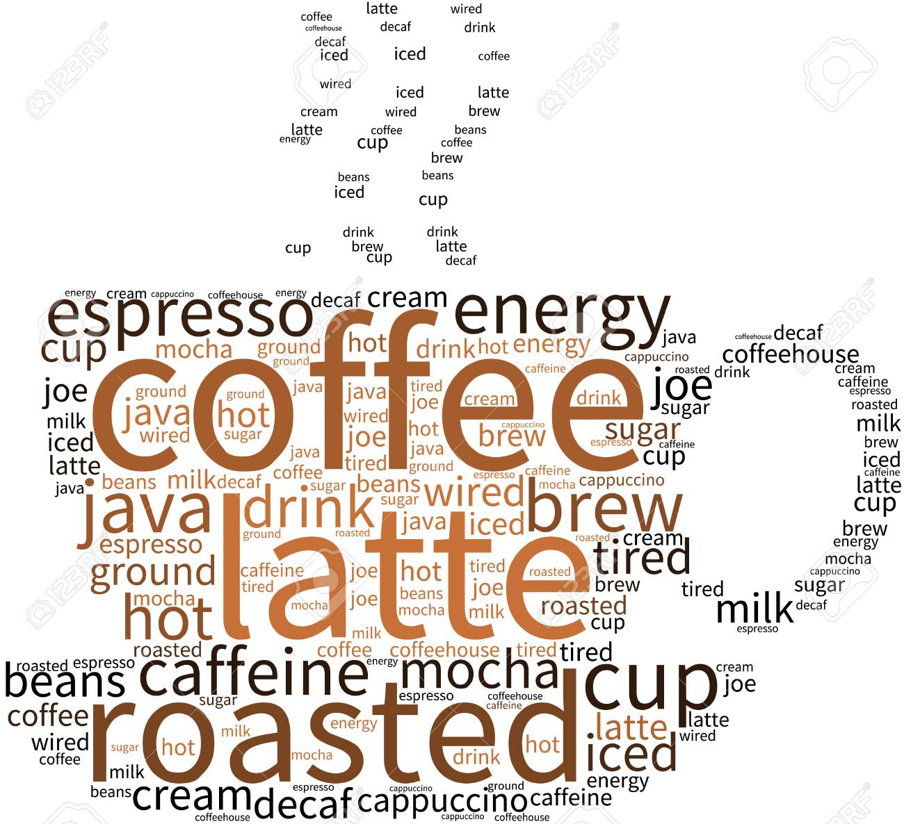 Coffee Word Cloud On A White Background. Royalty Free Cliparts ...