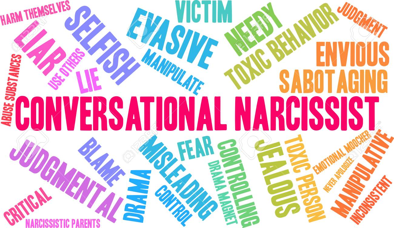 Conversational Narcissist word cloud on a white background