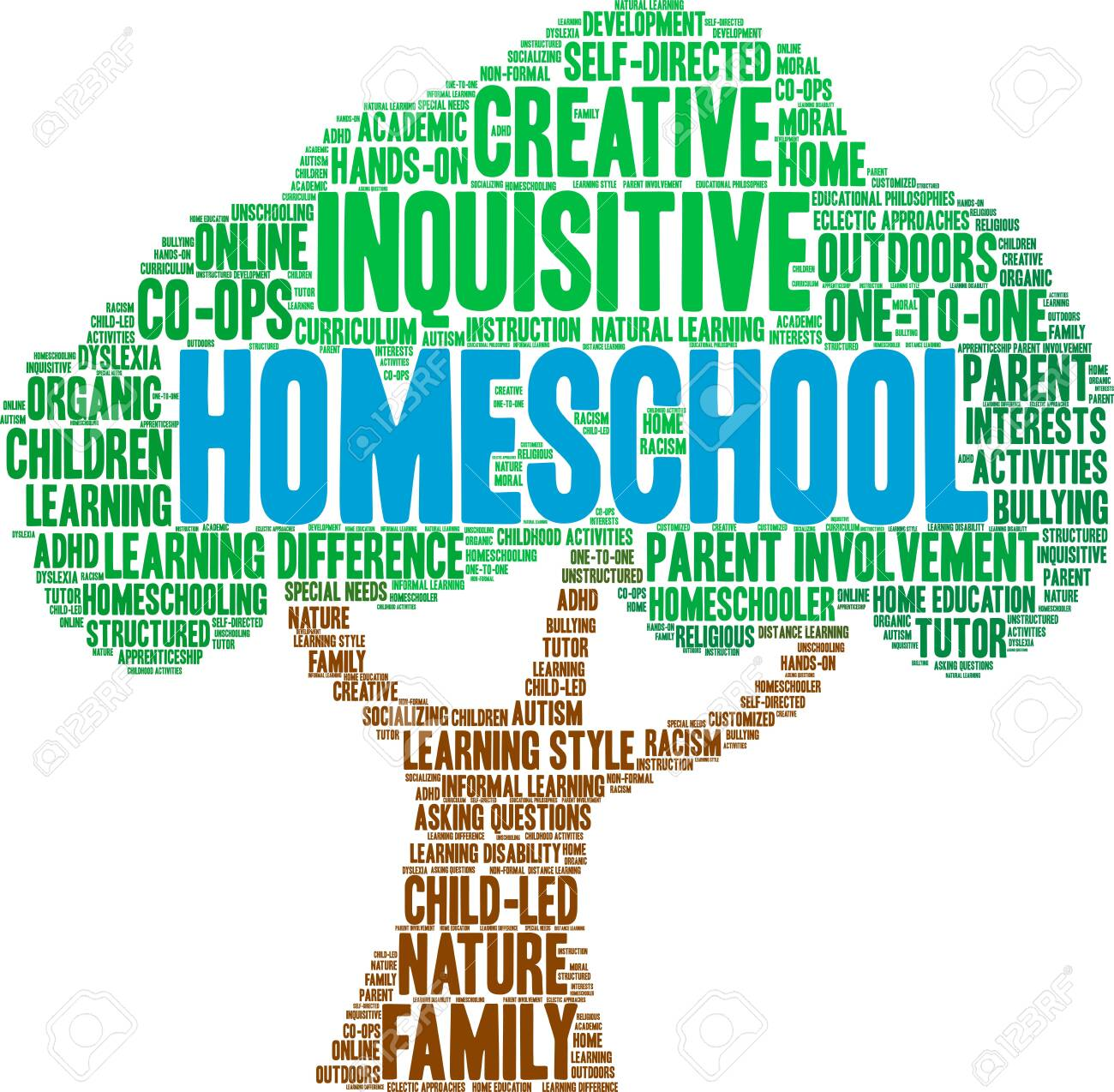 Homeschool word cloud on a white background. - 124922546