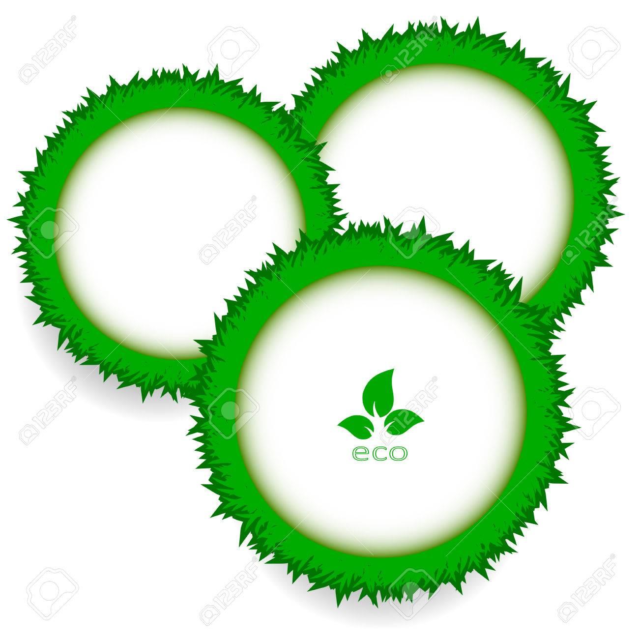 Abstrakte Grüne Gras Kreis Rahmen Vektor Whithintergrund Lizenzfrei ...