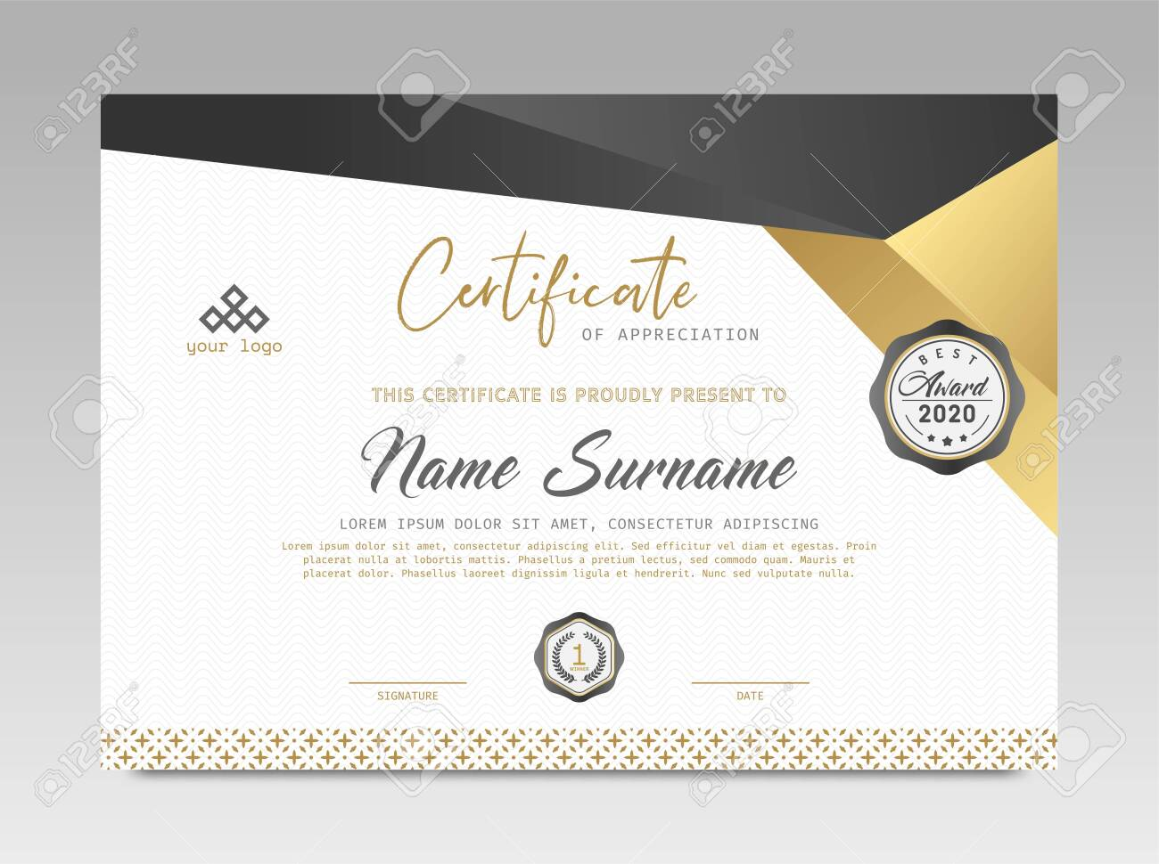 Modern Design Certificate. Black and Gold Certificate template awards diploma background vector modern design simple elegant and luxurious elegant. layout horizontal in A4 size - 155450675
