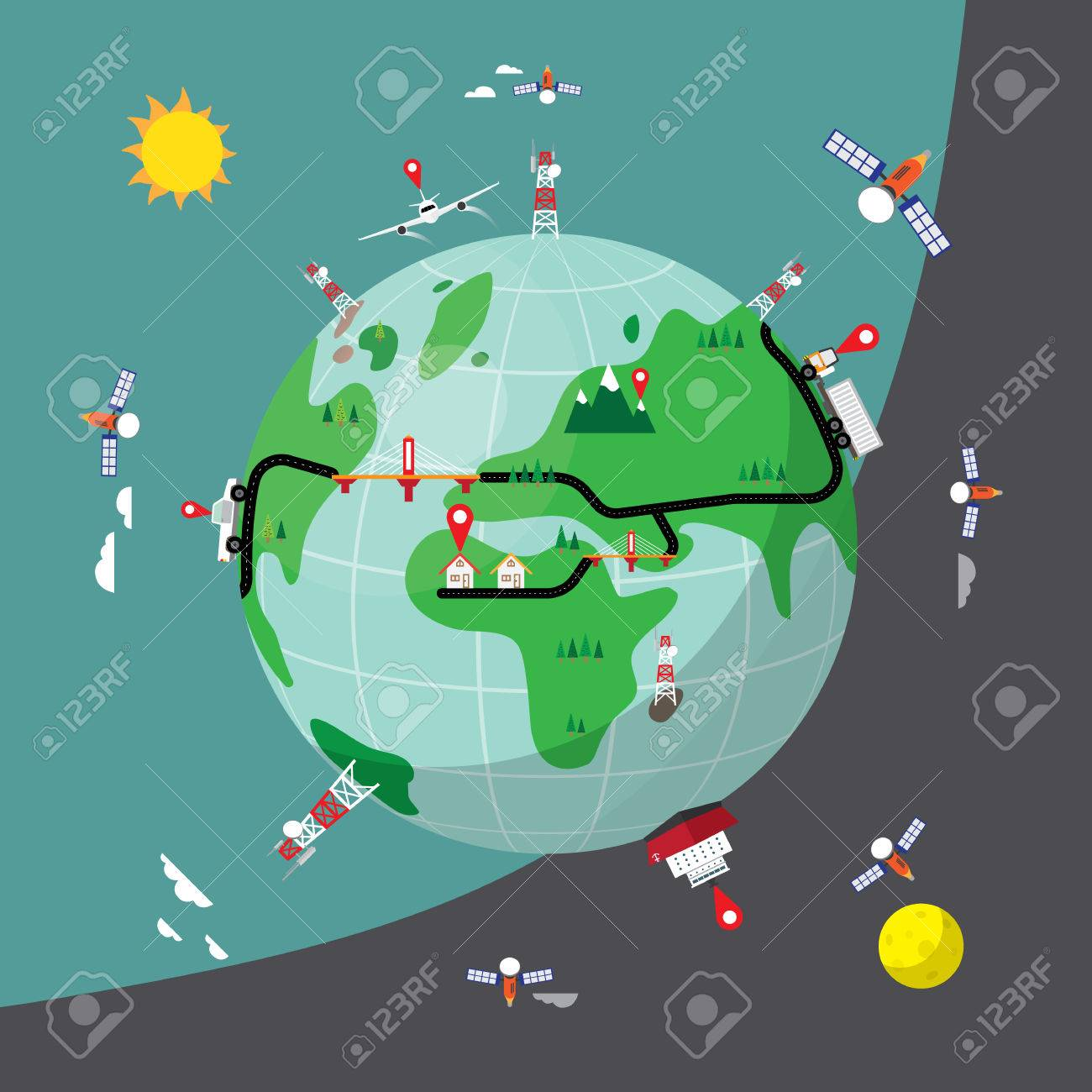 World Map Gps.Gps Tracking In Simple World Map Royalty Free Cliparts Vectors And
