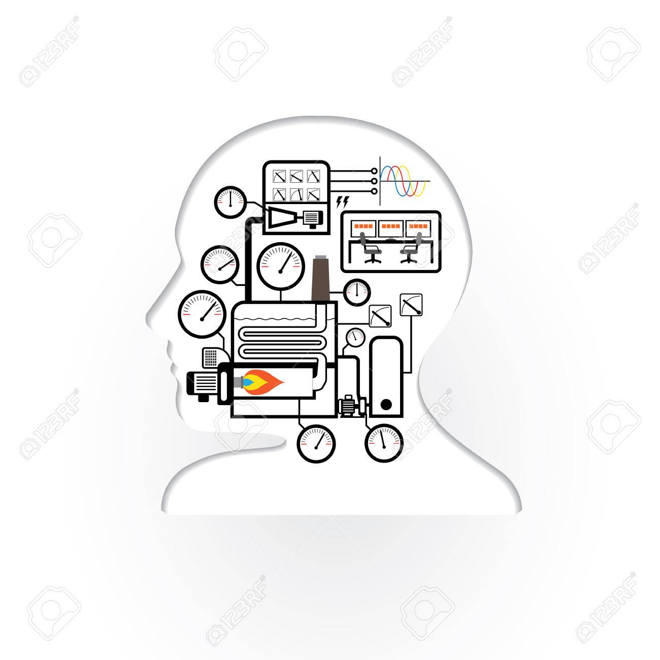 Abstract Brain Human With Simple Boiler System Royalty Free Cliparts ...
