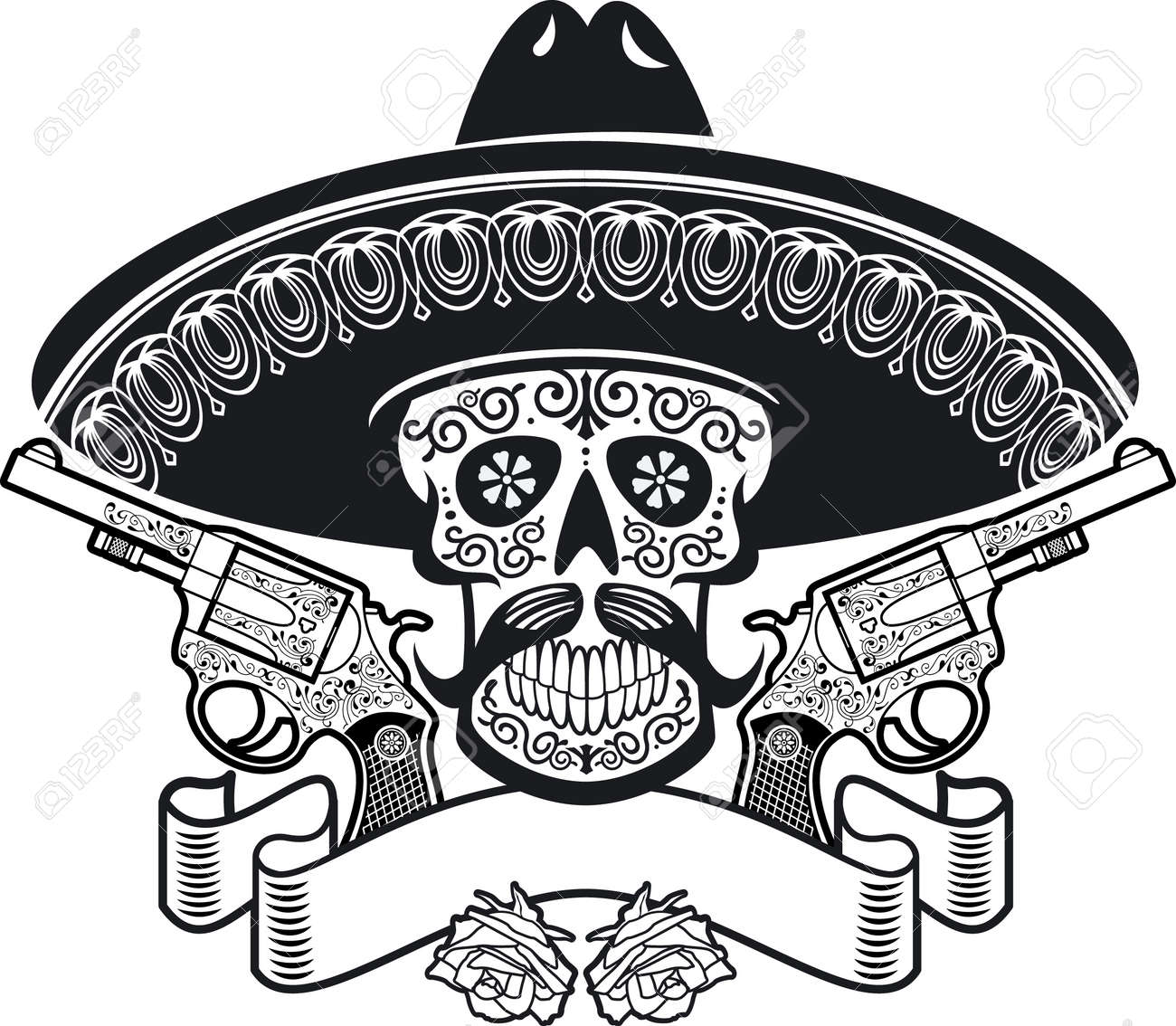 mexican sugar skull with sombrero, roses, guns and banner - 168226165