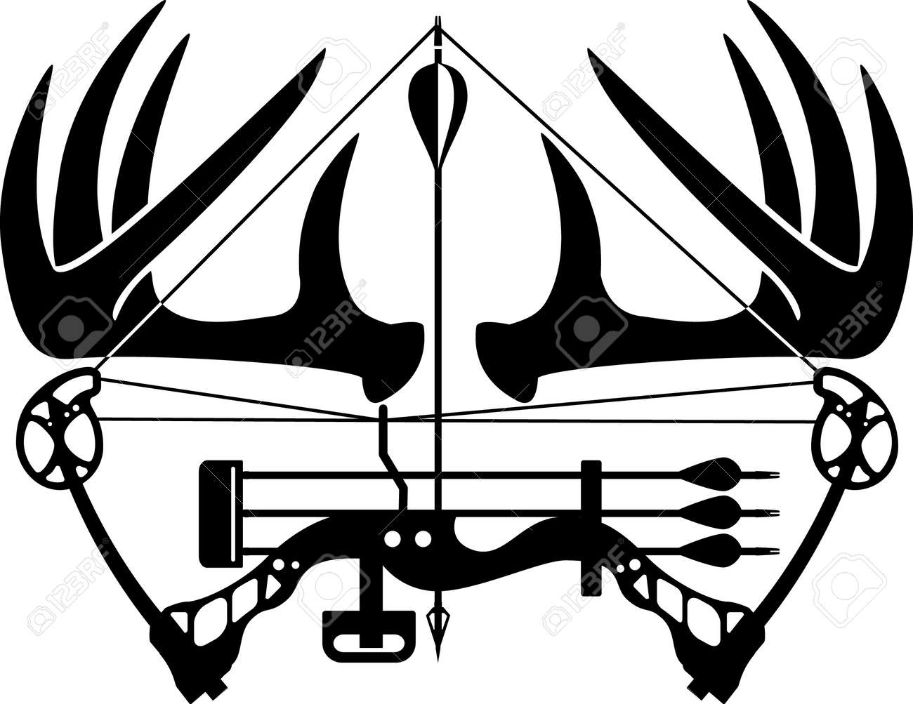compound bow and hunting arrow - 169373167