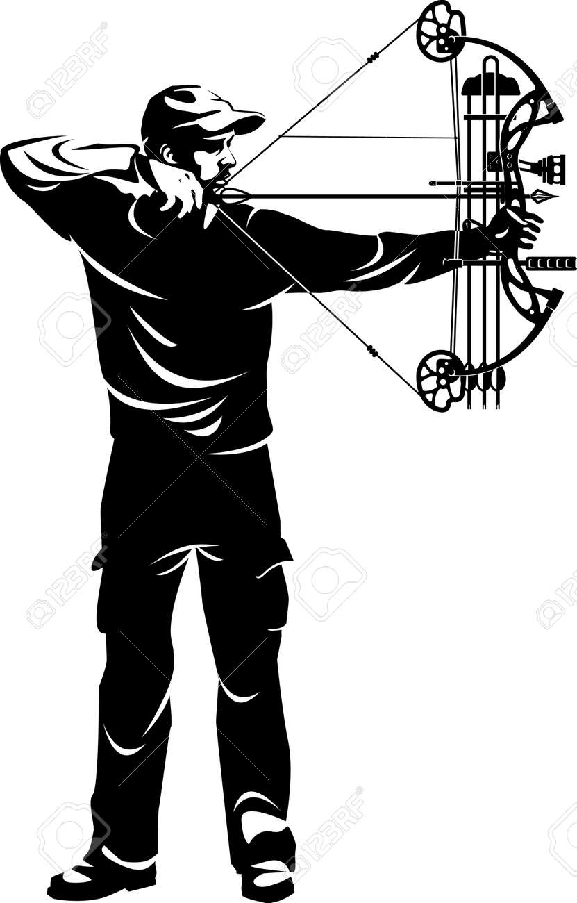 bow hunter aiming with compound bow - 169373172