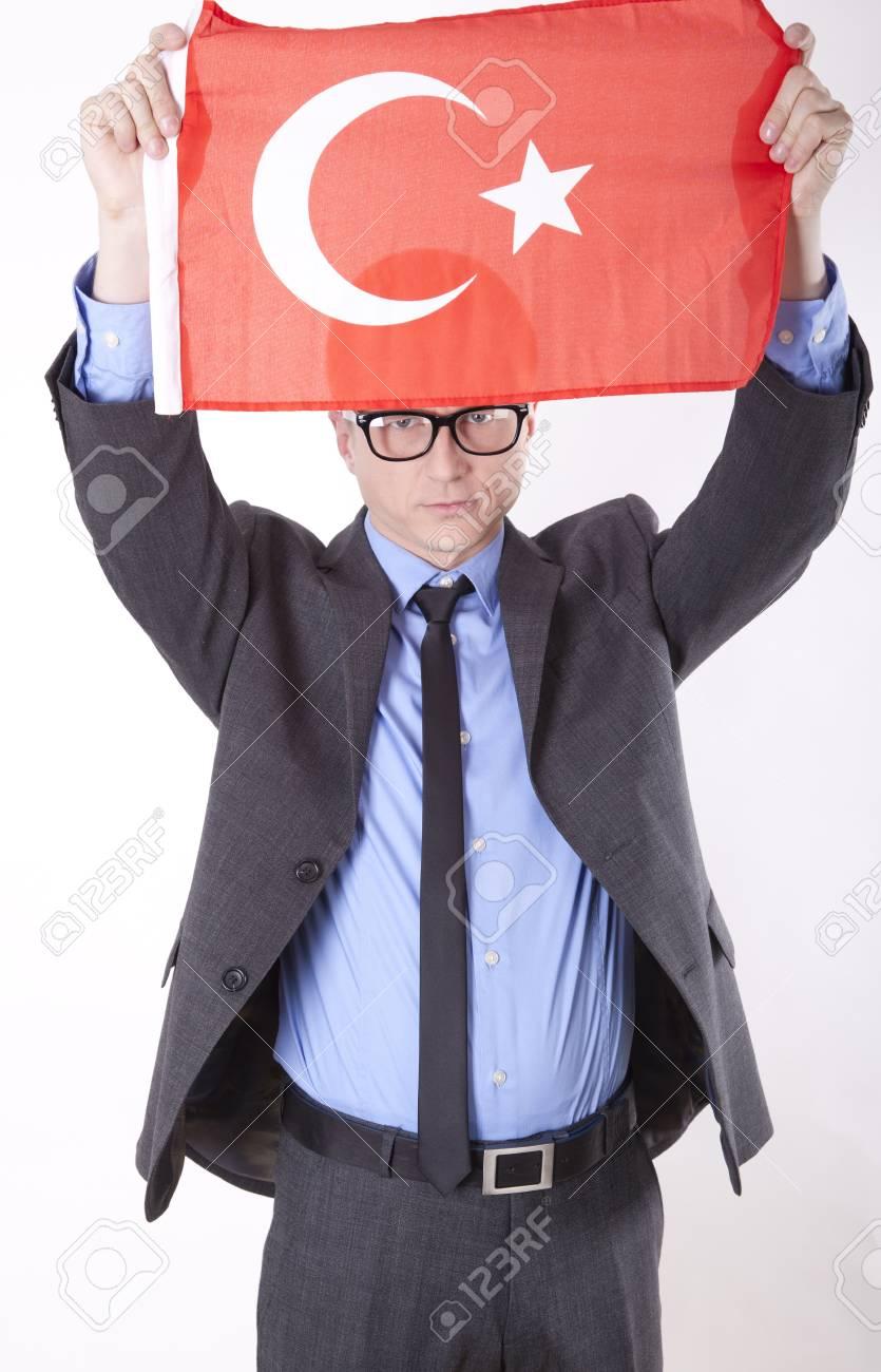 Man holding flag of Turkey. Stock Photo - 13757430