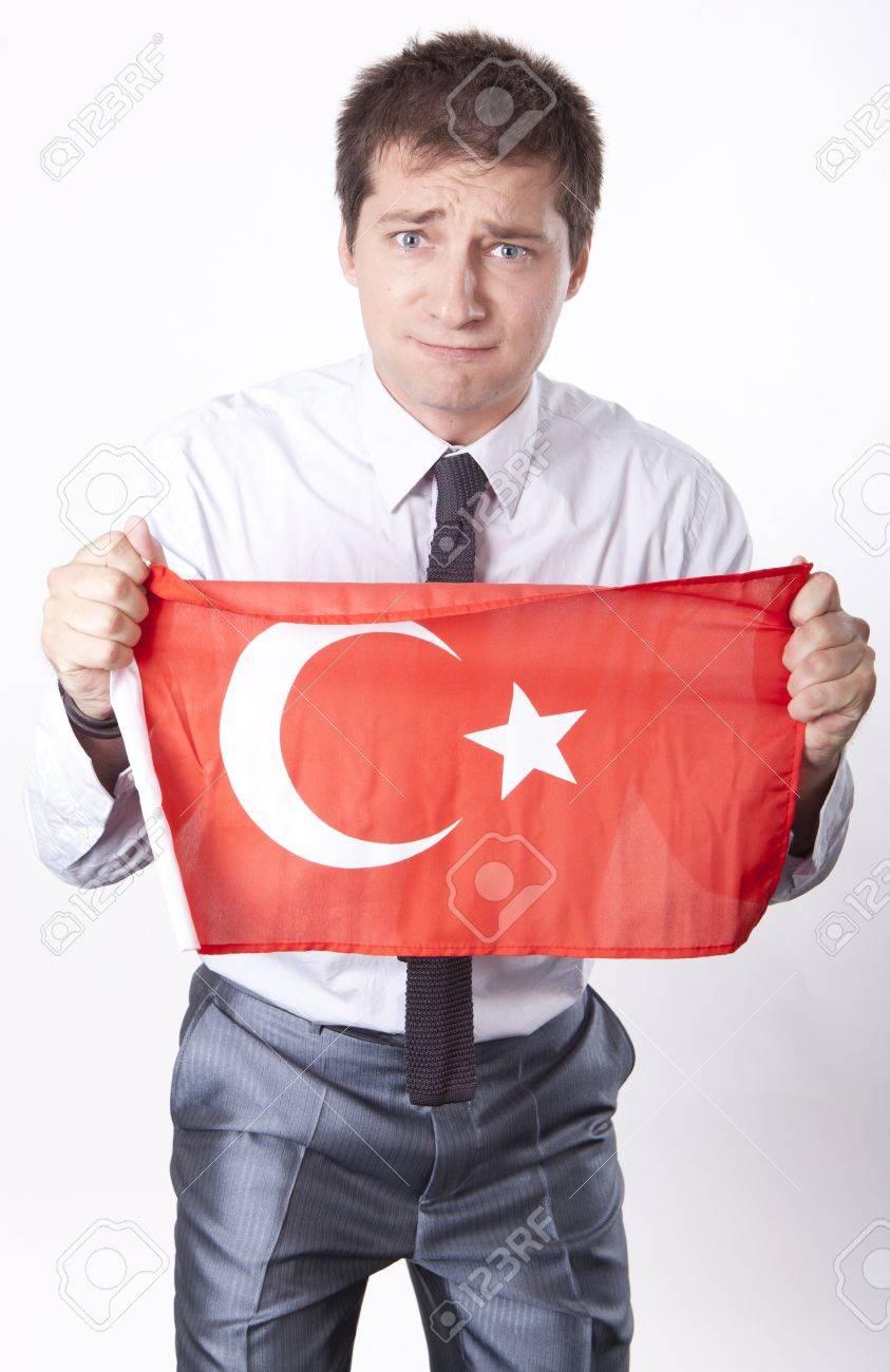 Man holding flag of Turkey. Stock Photo - 13757302