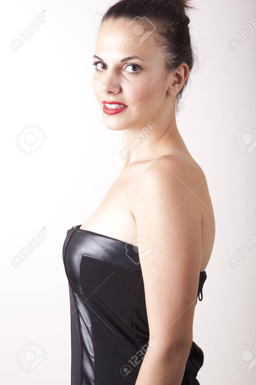 Portrait of a young beautiful woman with red lips Stock Photo - 16193899
