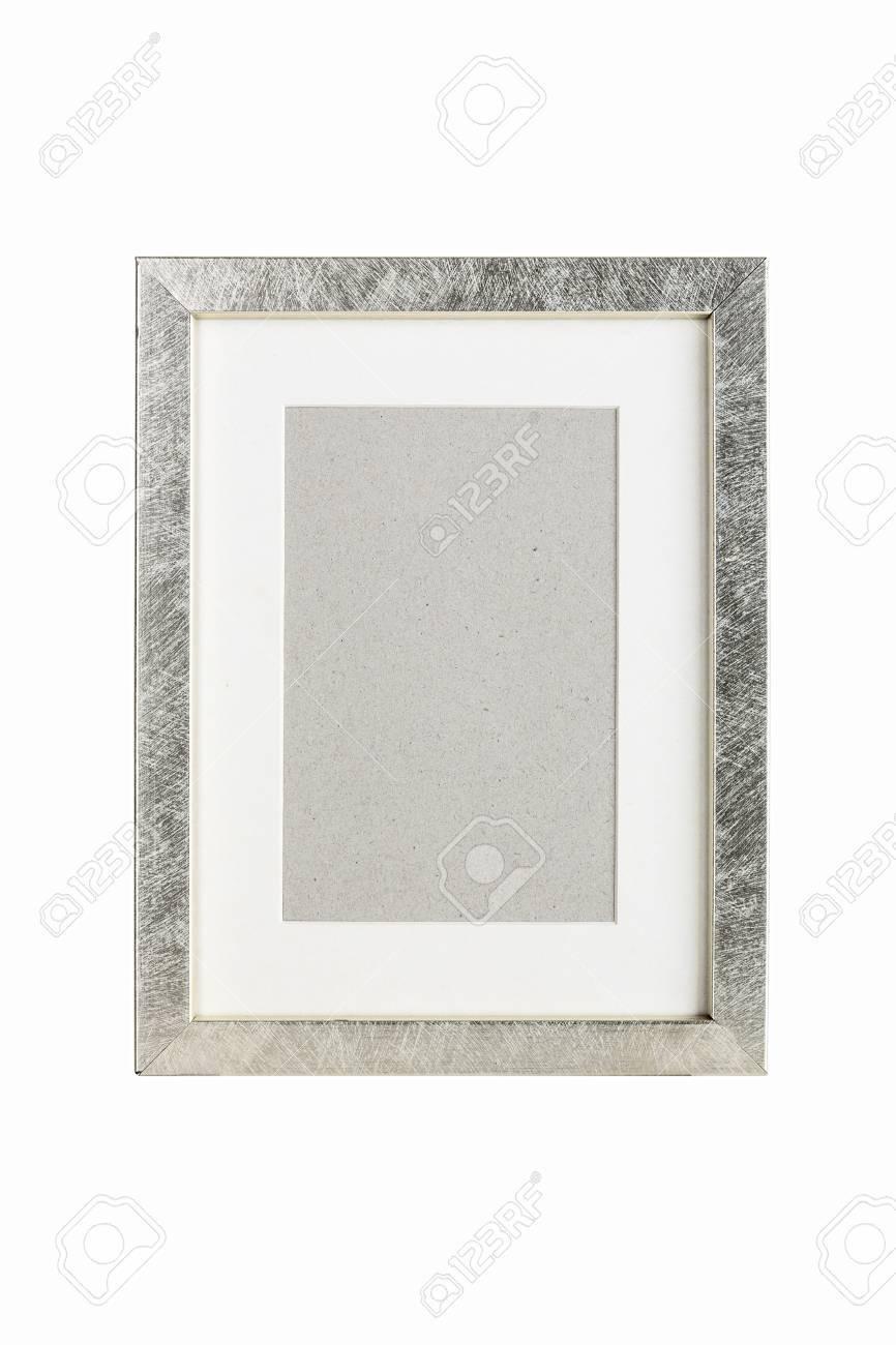 Altes Silber Bilderrahmen Mit Pappe Matte Isoliert Auf Weiss