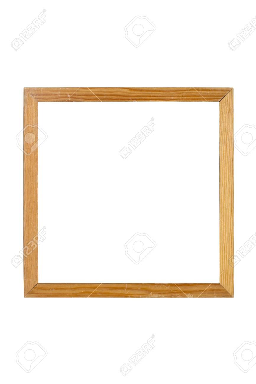 Alten Einfachen Holz Quadrat Bilderrahmen, Isoliert Auf Weiß ...