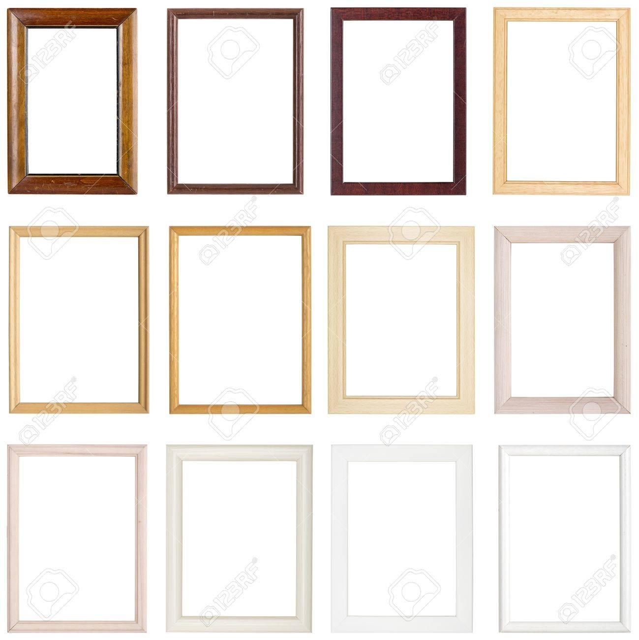 Colección De Sencillos Marcos De Madera, Aislado En Blanco Fotos ...