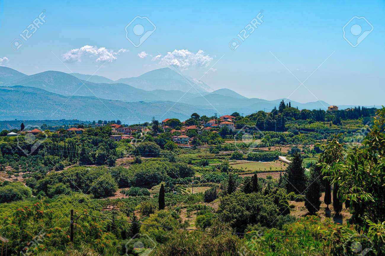 Mediterranean Landscape With Village Kefalonia Greece Stock Photo