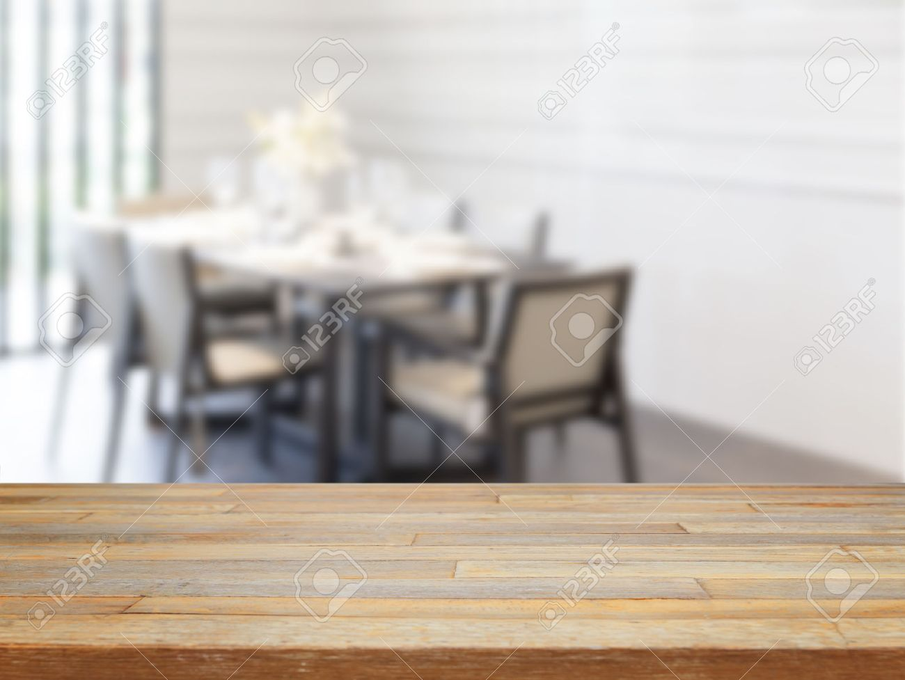 Empty wooden table and dining room tables background, product display - 40383627
