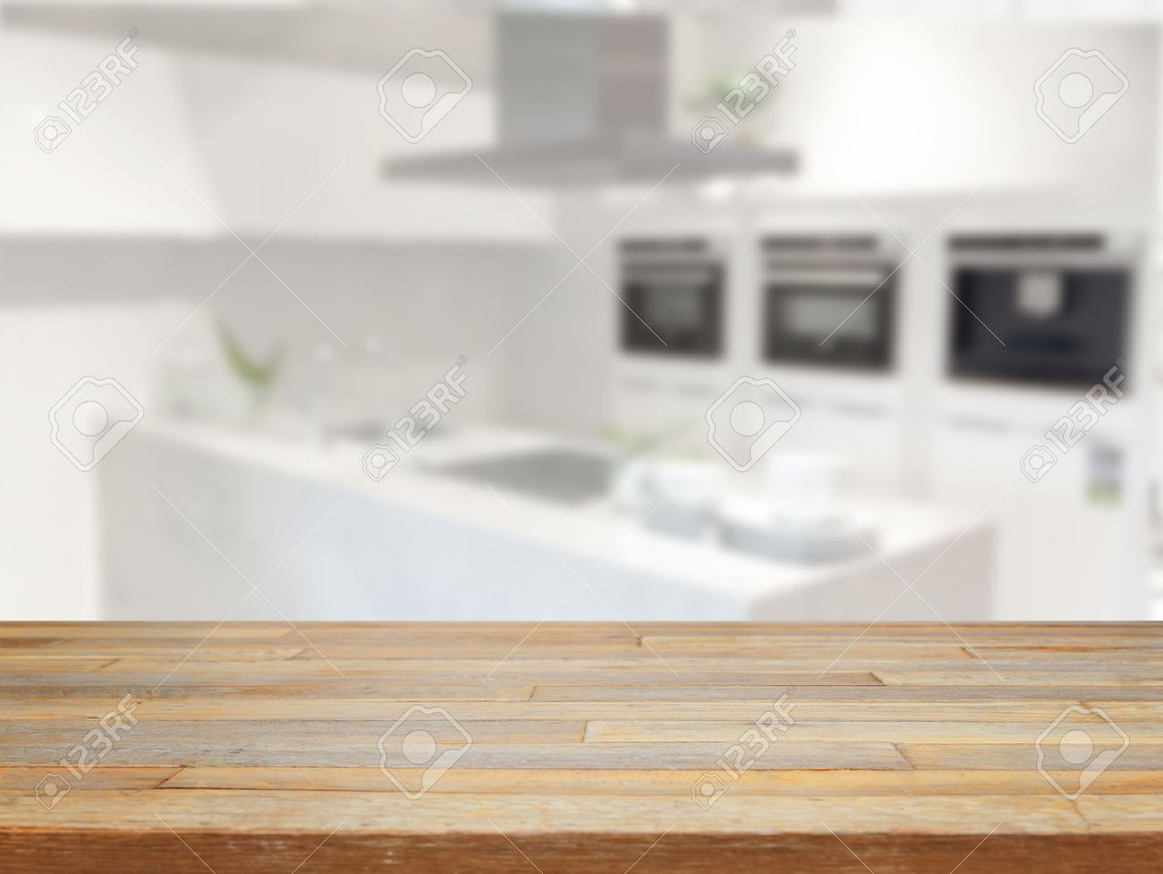 Empty wood table and blurred living room background stock photo - Empty Wooden Table And Blurred Kitchen Background Product Display Stock Photo 40383794