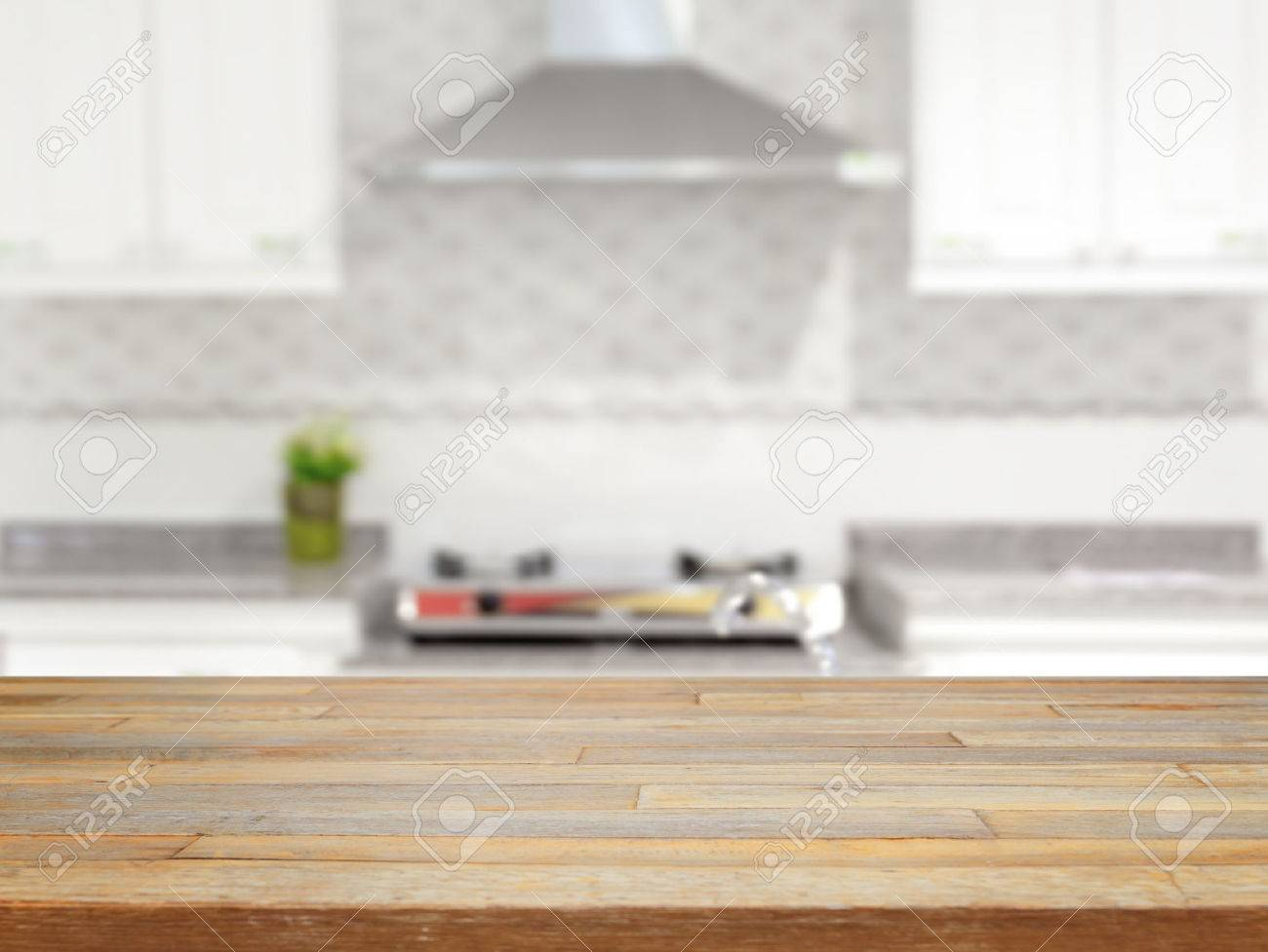 Empty wood table and blurred living room background stock photo - Empty Wooden Table And Blurred Kitchen Background Product Display Stock Photo 40383795