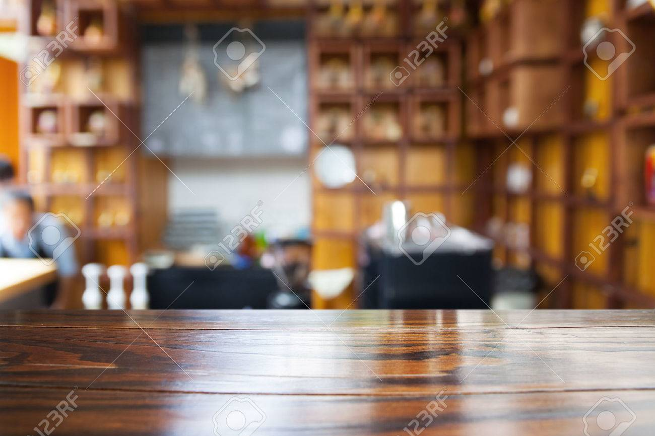 Empty wood table and blurred living room background stock photo - Empty Wooden Table And Blurred Cafe Background Product Display Stock Photo 41679822