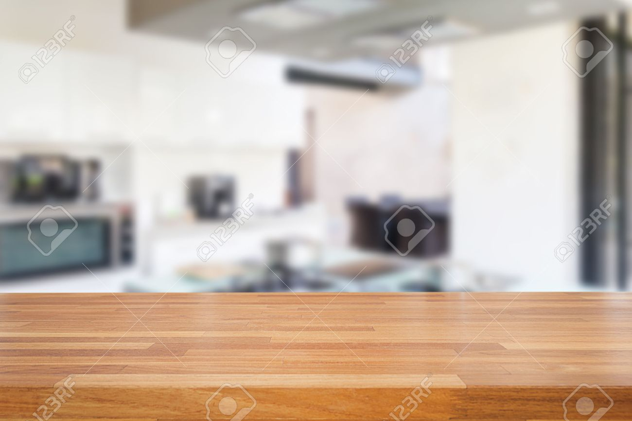 Empty wood table and blurred living room background stock photo - Empty Wooden Table And Blurred Kitchen Background Product Montage Display Stock Photo 43686893